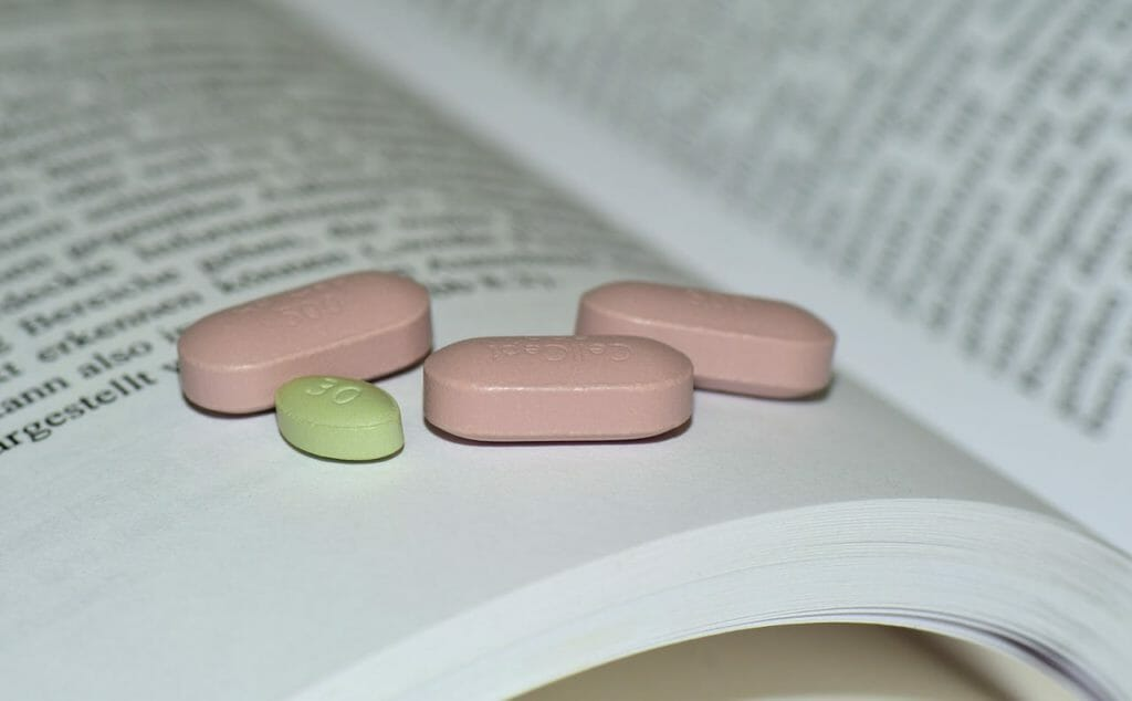 A few study drugs sitting on book