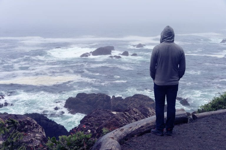 Someone with bipolar disorder looking out at water