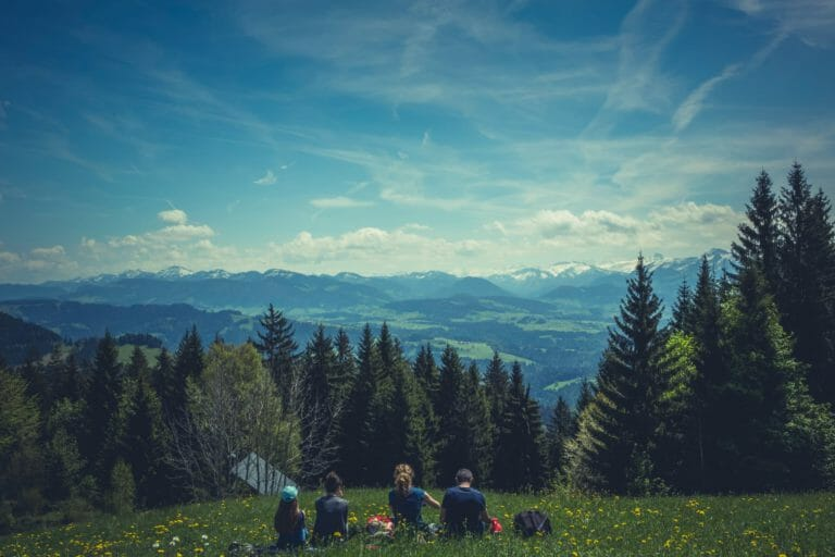 Group of people in recovery on hike holding boundaries